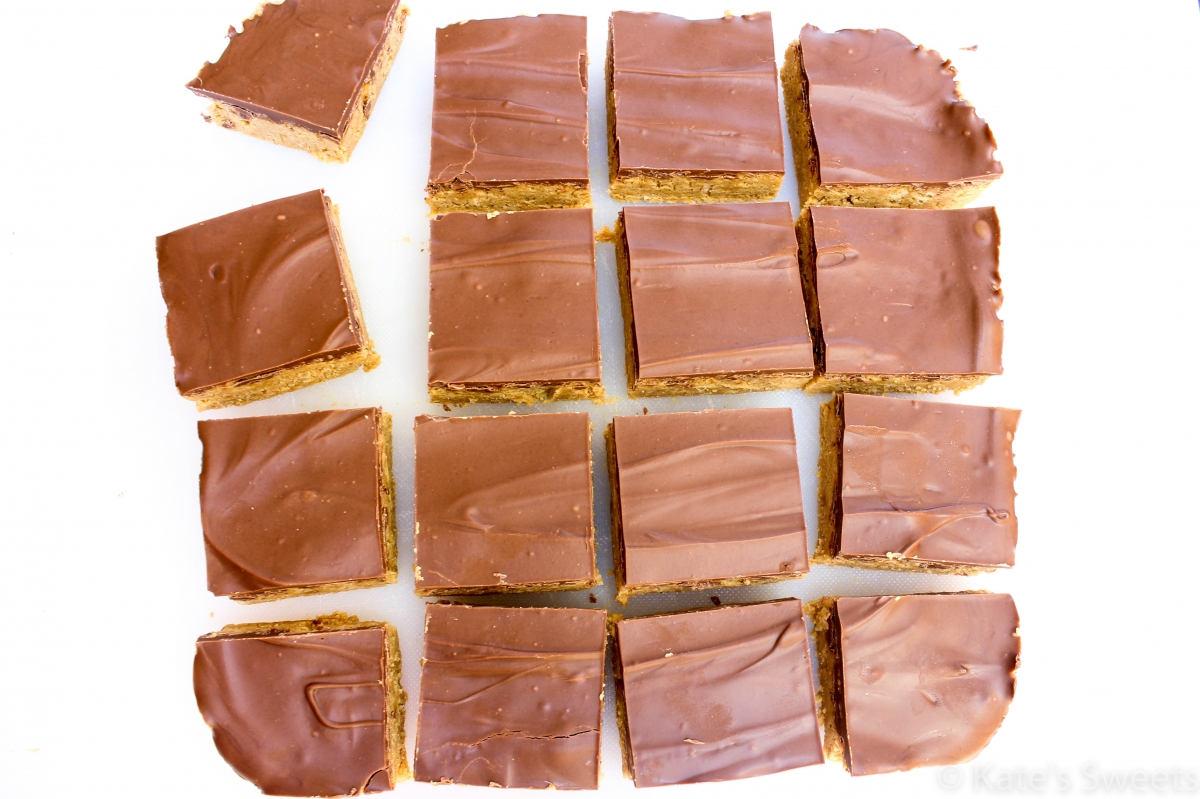 Peanut Butter Chocolate Reese's Bars - Kate's Sweets